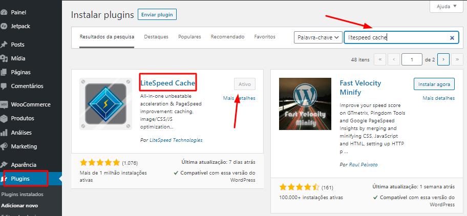 instalar e ativar o plugin LiteSpeed Cache no WordPress