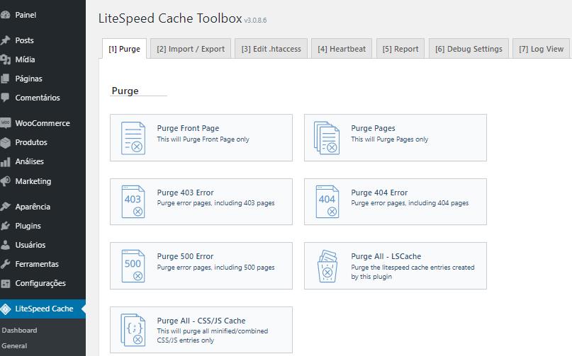 opções de Caixa de Ferramentas para otimizar cache no plugin LiteSpeed Cache