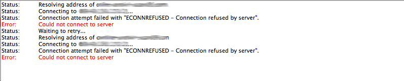 ECONNREFUSED Connection refused by server error