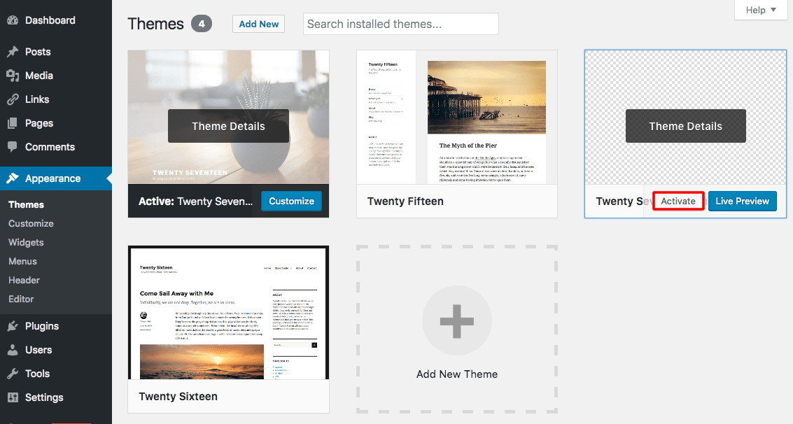 activate wordpress child theme