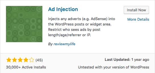 ad injection wordpress plugin