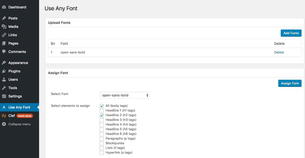 any font control panel