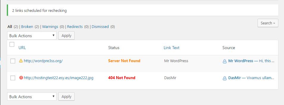 broken links list