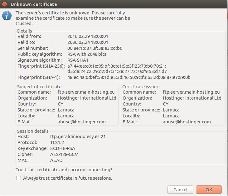 confirmação do cliente ftp filezilla sobre a conexão tls