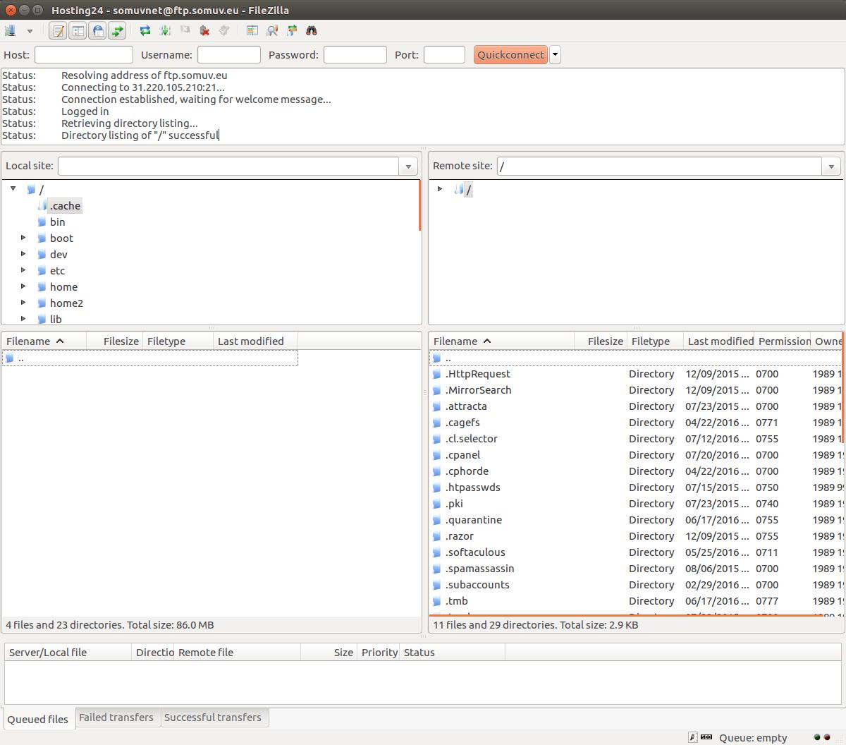 conectando ao cliente ftp filezilla