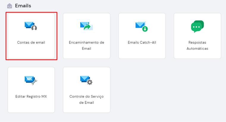 opção contas de email no hpanel da hostinger
