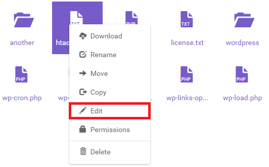 edit htaccess in file manager 1