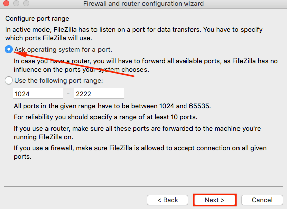 filezilla network configuration wizard ask operating system