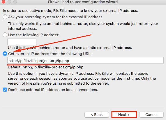 filezilla network configuration wizard get external