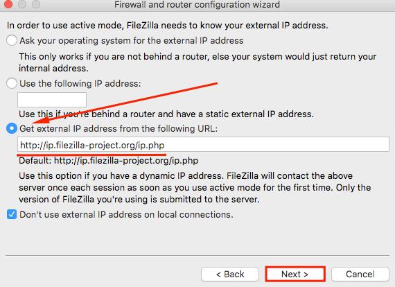 filezilla network configuration wizard get external