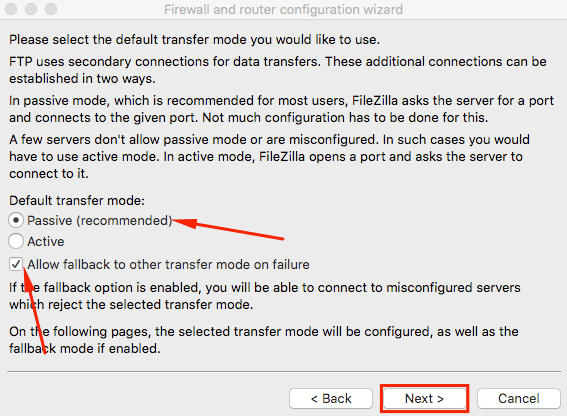 filezilla network configuration wizard passive allow fallback
