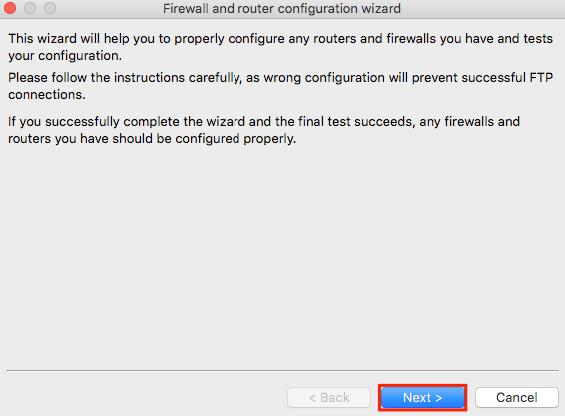 filezilla network configuration wizard step1