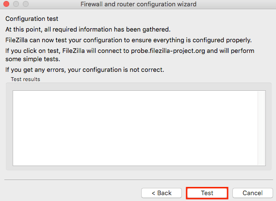 filezilla network configuration wizard test
