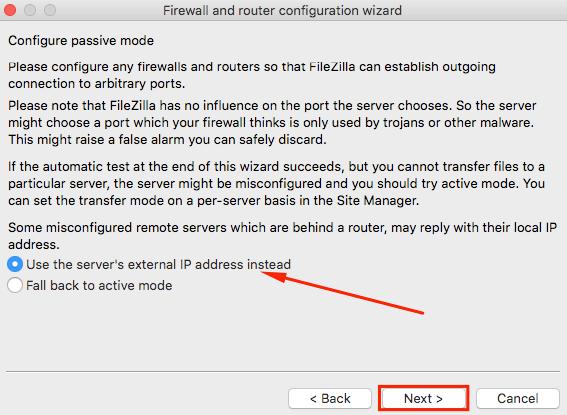 filezilla network configuration wizard use external IP address