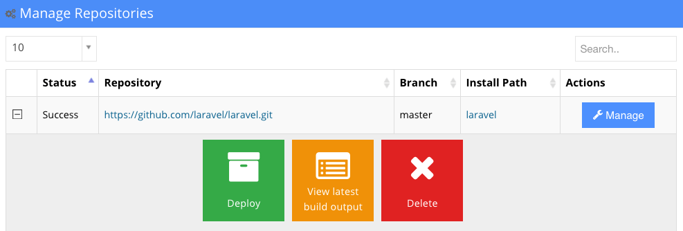 git hostinger manage button