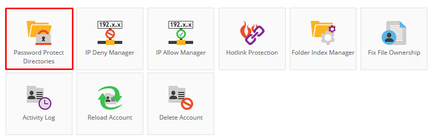 hostinger control panel password protect icon