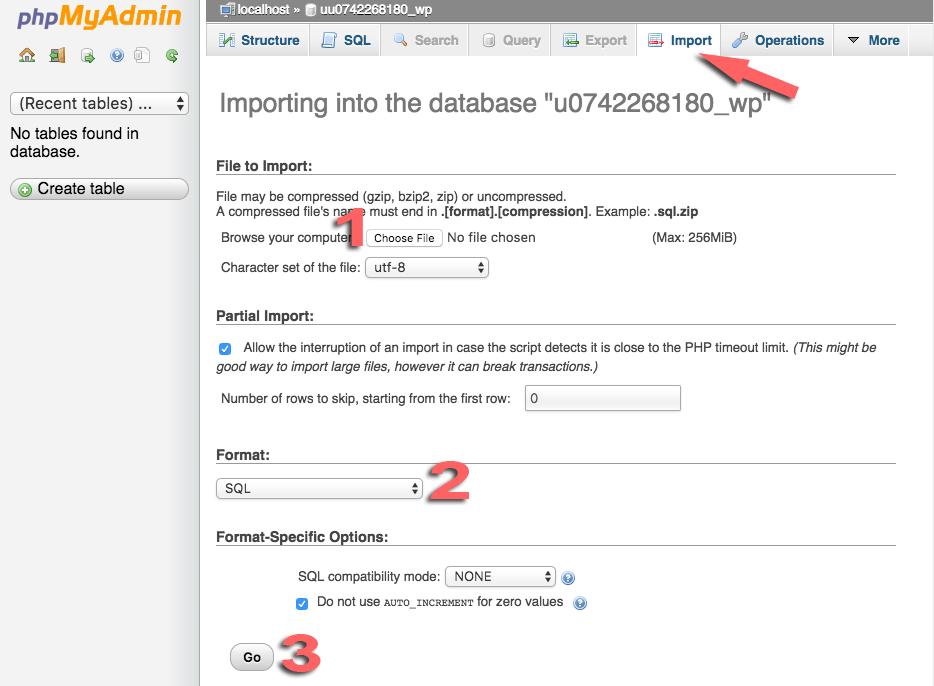 hostinger php my admin import