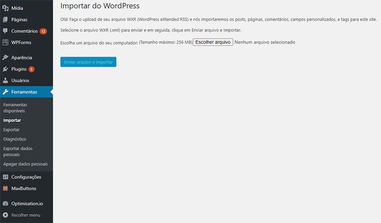 tela de importação do wordpress