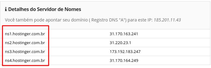 detalhes dos nomes dos servidores para apontar domínio para a Hostinger