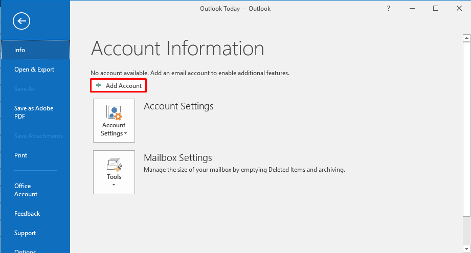 outlook add account button