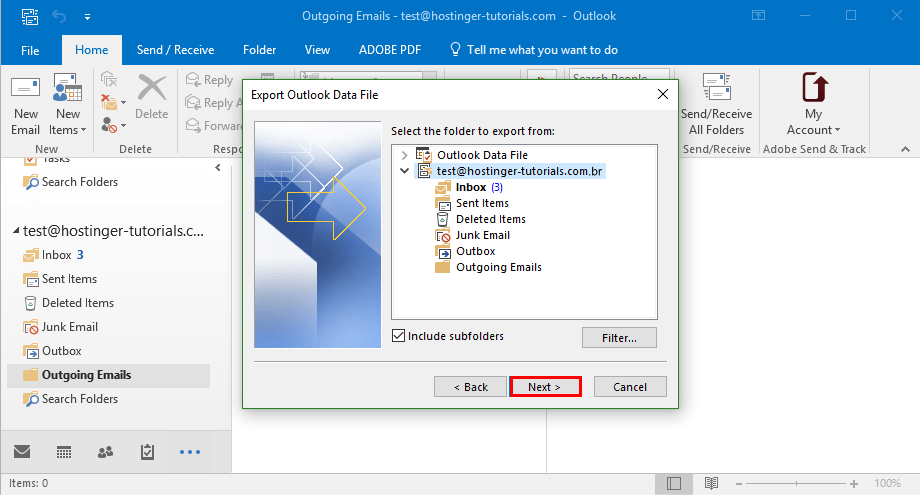 outlook choose export choose email account2