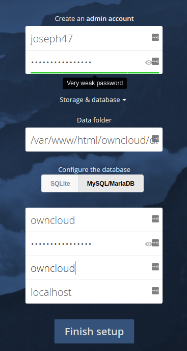 owncloud centos database