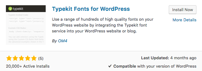 typekit for wordpress