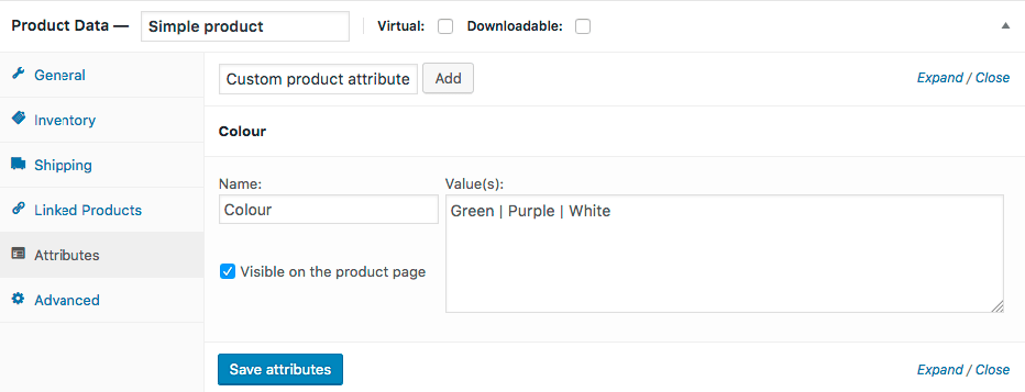 woocommerce product attributes section
