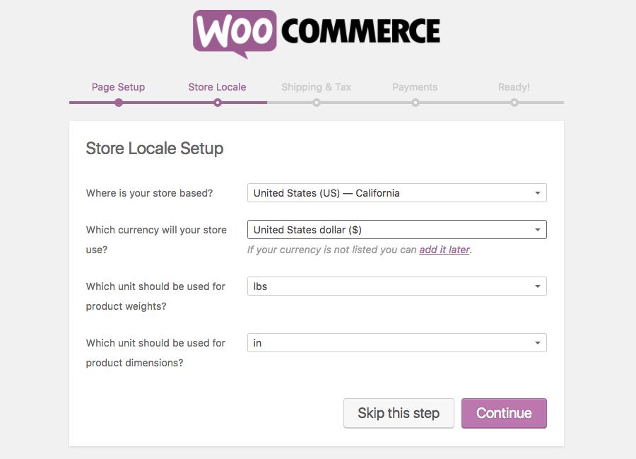 woocommerce setup store locale