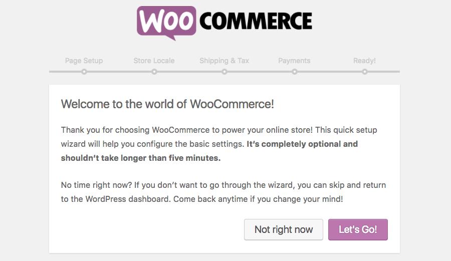 woocommerce setup wizard lets go