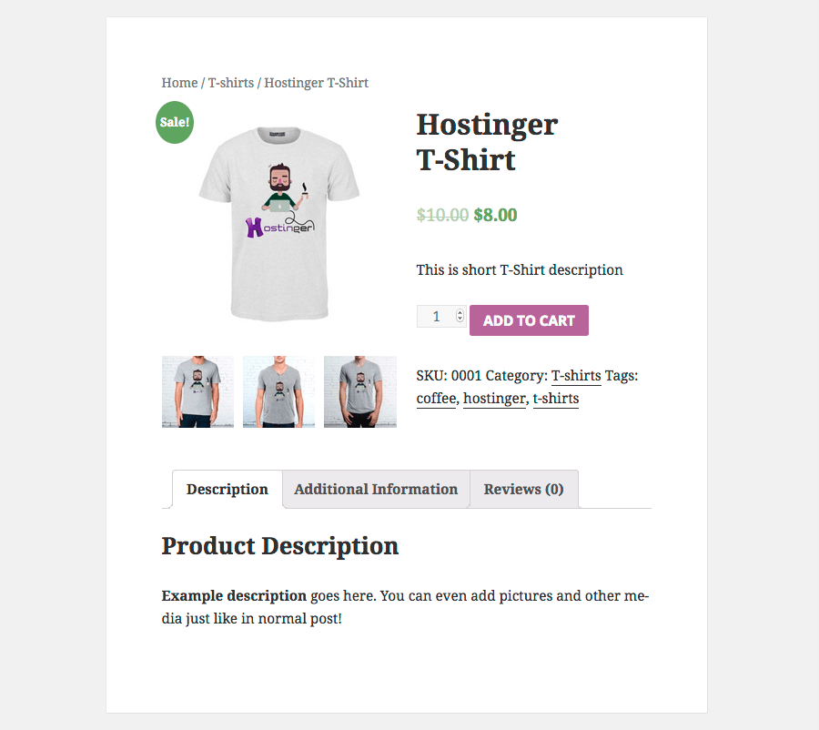 woocommerce product tee page preview