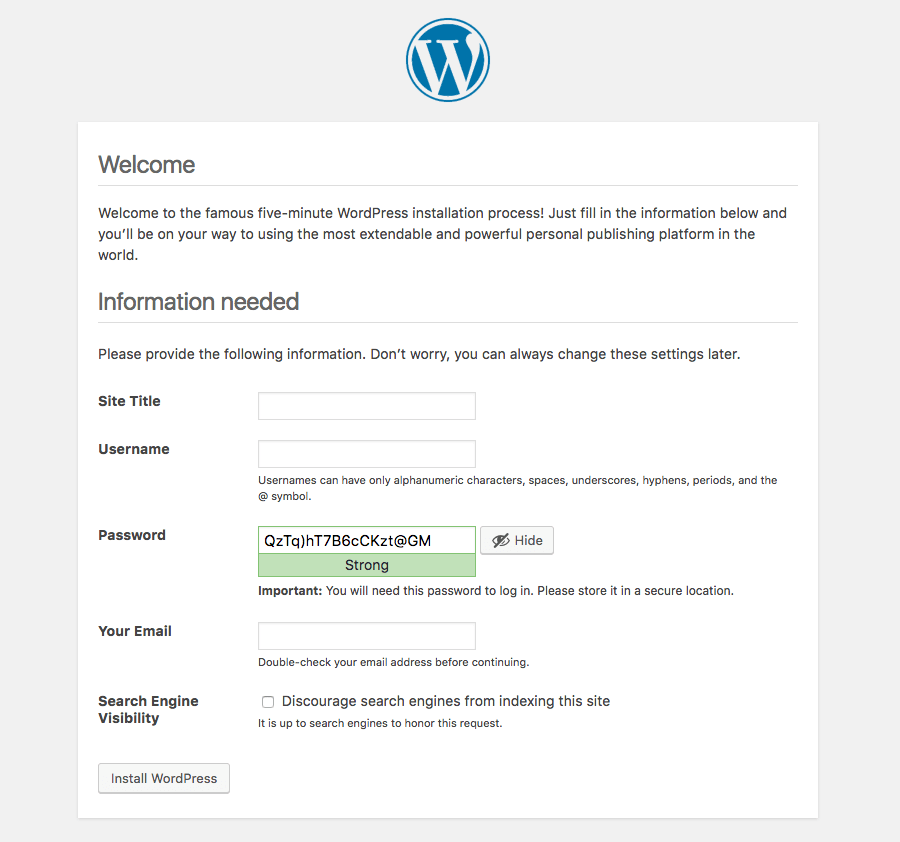 wordpress cli tutorial enter details