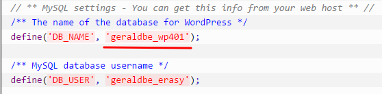 wordpress database name in wp config