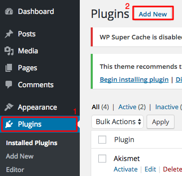wordpress plugins section add new button