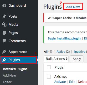 wordpress plugins section add new button