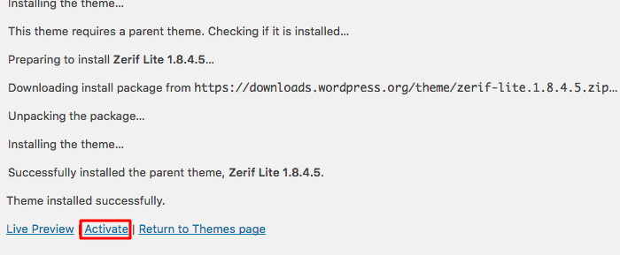 wordpress themes 2 activate options