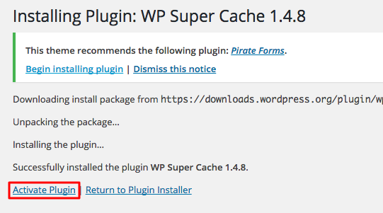 wordpress wp super cache activate 1