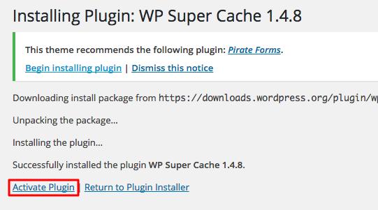 wordpress wp super cache activate