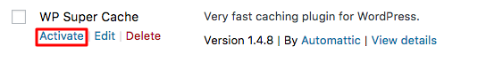 wordpress wp super cache activate2