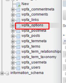 wp options phpmyadmin