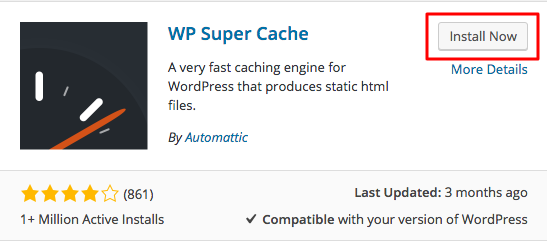 wp super cache install button