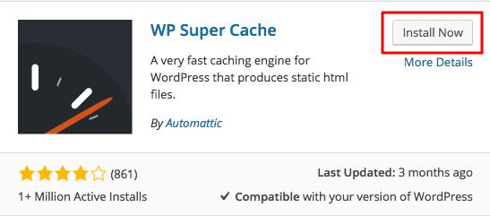 wp super cache install button