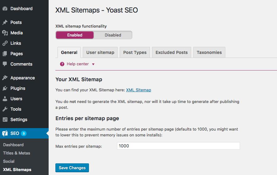 yoast seo sitemap xml settings