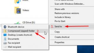 enviar arquivos selecionados para compactação
