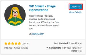 instalar e ativar o plugin wp smush no wordpress