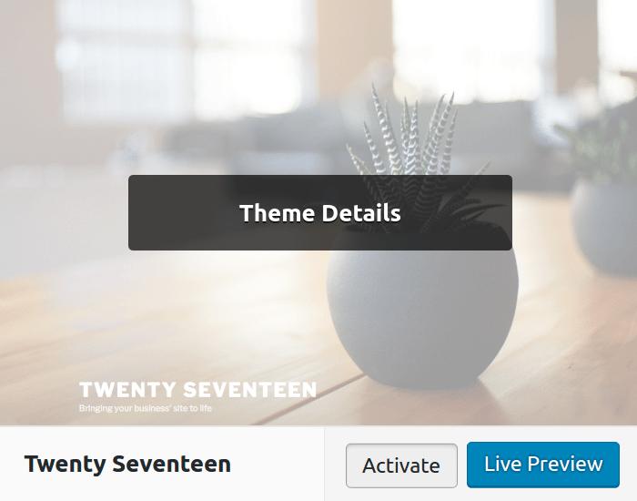 Ativando novo tema WordPress pelo painel