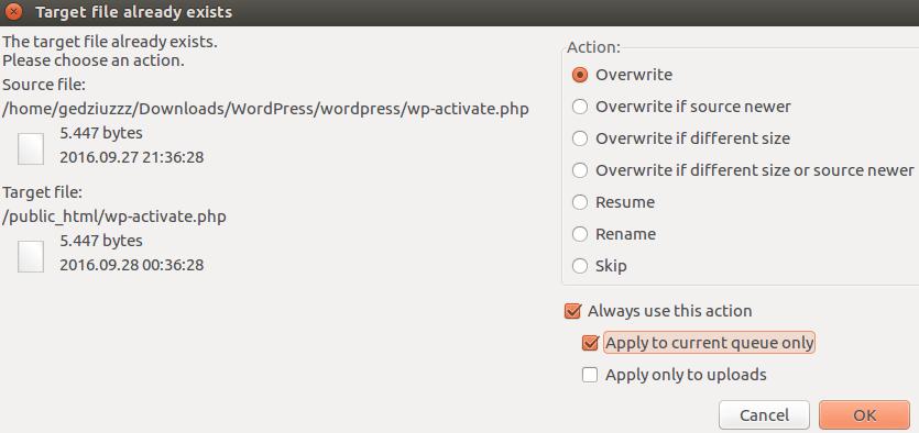 Criando arquivos no Filezilla