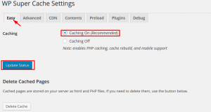 configuração fácil do plugin wp super cache