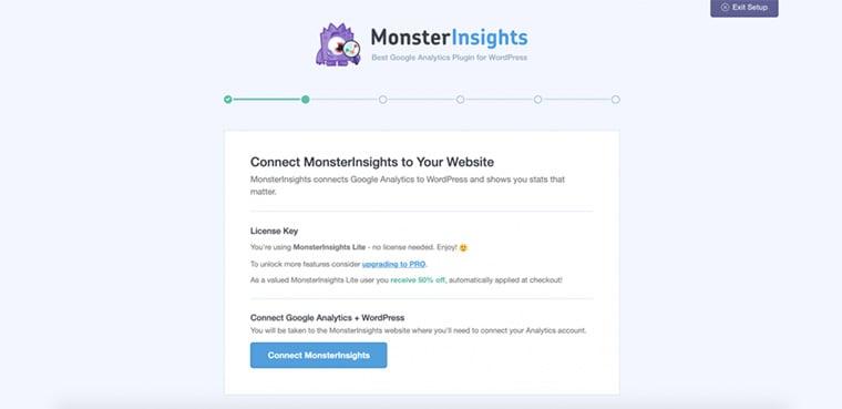 tela de conexao do monsterinsights com o google analytics
