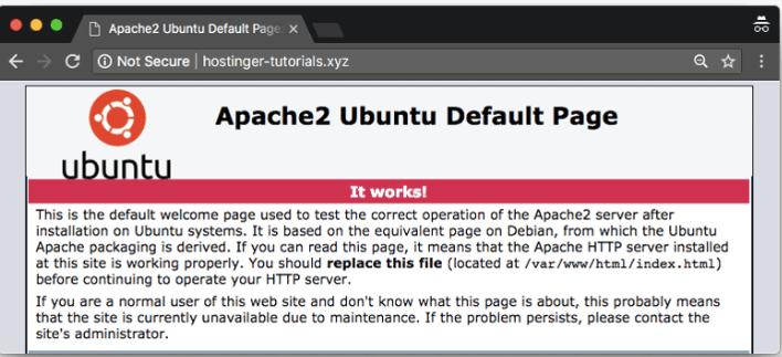 página padrão de carregamento do Ubuntu que indica como apontar domínio para vps